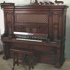 This Aeolian Ochestrelle organ was owned by the Herbst family of Wapakoneta, who converted it to electric power in the 1930s.